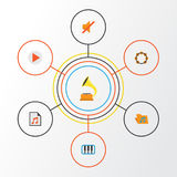 Audio Flat Icons Set. Collection Of Portfolio, Quiet, Pianoforte And Other Elements. Also Includes Symbols Such As. Audio Flat Icons Set. Collection Of Portfolio Stock Images