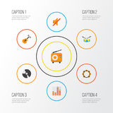 Audio Flat Icons Set. Collection Of Quiet, Dj, Band Elements. Also Includes Symbols Such As Disk, Broadcasting Royalty Free Stock Photos