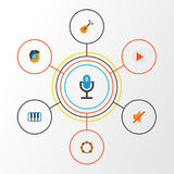 Audio Flat Icons Set. Collection Of Rhythm, Acoustic, Quiet And Other Elements. Also Includes Symbols Such As Listen. Audio Flat Icons Set. Collection Of Rhythm Vector Illustration