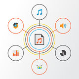 Audio Flat Icons Set. Collection Of Tone, Male, Dj And Other Elements. Also Includes Symbols Such As Controlling, Voice Royalty Free Stock Photos