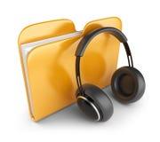 Audio folder with headphones. 3D. Yellow audio folder with headphones. 3D Icon on white Stock Illustration