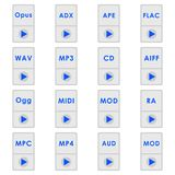 Audio format icons. Audio format icon. Set of icons. flat style Royalty Free Stock Photography