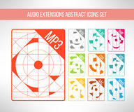 Audio format icons set im modern abstract Royalty Free Stock Photos