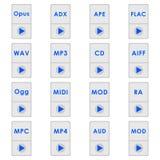 Audio format ikony ilustracji
