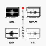 Audio, frequentie, hertz, opeenvolging, golfpictogram in Dunne, Regelmatige, Gewaagde Lijn en Glyph-Stijl Vector illustratie royalty-vrije illustratie
