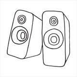 Audio głośnikowa doodle ilustracja ilustracji