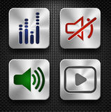Audio geplaatste pictogrammen Stock Foto