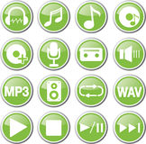 Audio green icon set Royalty Free Stock Photo