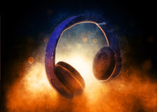 Audio Headphones Lit Dramatically from Below Royalty Free Stock Image