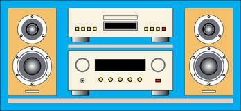 Audio Hi-Fi components: loudspeaker, CD player, amplifier Royalty Free Stock Photography
