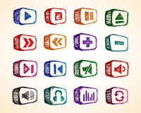 Audio Icon. A set of sketchy audio colorful icon vector illustration