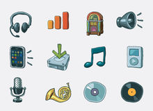 Audio icon set Stock Images