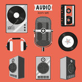 Audio icon set. Isolated vintage audio equipment collection Stock Photo