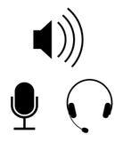 Audio icone di vettore Fotografia Stock Libera da Diritti