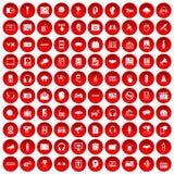 100 audio icone messe rosse Immagine Stock