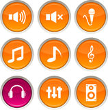 Audio icons. Audio glossy icons. buttons with audio symbols Vector Illustration
