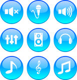 Audio icons. Stock Photos