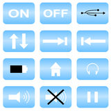 Audio icons. Set of 12 audio icons vector illustration