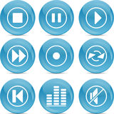 Audio icons on blue shiny balls Stock Images