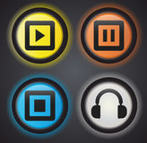 Audio icons/ buttons. Stylish vector icons/ buttons with lightening Royalty Free Stock Photo