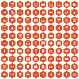 100 audio icons hexagon orange. 100 audio icons set in orange hexagon isolated vector illustration Stock Images