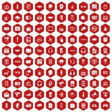 100 audio icons hexagon red. 100 audio icons set in red hexagon isolated vector illustration stock illustration