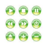 Audio icons lime. Green yellow icons for audio Stock Image