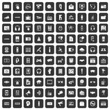 100 audio icons set black. 100 audio icons set in black color isolated vector illustration Stock Photo