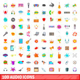 100 audio icons set, cartoon style. 100 audio icons set in cartoon style for any design vector illustration Stock Photography
