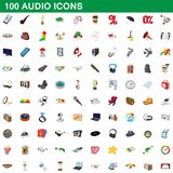 100 audio icons set, cartoon style. 100 audio icons set in cartoon style for any design illustration royalty free illustration