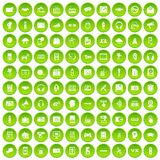 100 audio icons set green circle. Isolated on white background vector illustration Stock Illustration