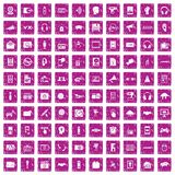 100 audio icons set grunge pink. 100 audio icons set in grunge style pink color isolated on white background vector illustration Stock Photos