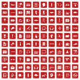 100 audio icons set grunge red. 100 audio icons set in grunge style red color isolated on white background vector illustration Royalty Free Stock Photography