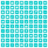 100 audio icons set grunge blue. 100 audio icons set in grunge style blue color isolated on white background vector illustration Stock Photo