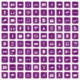 100 audio icons set grunge purple. 100 audio icons set in grunge style purple color isolated on white background vector illustration Stock Photo