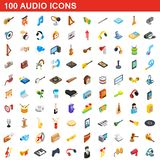 100 audio icons set, isometric 3d style. 100 audio icons set in isometric 3d style for any design illustration vector illustration