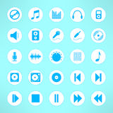 Audio icons set made in clean and simple design. Music signs. Vector illustration Royalty Free Stock Images