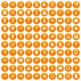 100 audio icons set orange. 100 audio icons set in orange circle isolated on white vector illustration Vector Illustration