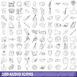 100 audio icons set, outline style. 100 audio icons set in outline style for any design vector illustration Stock Photo