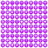 100 audio icons set purple. 100 audio icons set in purple circle isolated on white vector illustration vector illustration