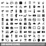 100 audio icons set, simple style. 100 audio icons set in simple style for any design vector illustration Royalty Free Stock Image
