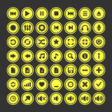 Audio icons  set. Vector media player icons set.  on dark gray background yellow round icons Stock Photo