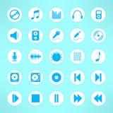 Audio ikony ustawiają robią w czystym i prostym projekcie Obrazy Royalty Free