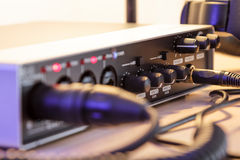 Audio interface and cables, Stock Image