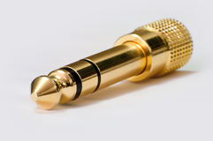 Audio jack. Gold plated and with high magnification stock photography