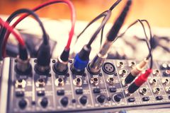 Free Audio Jack Cable Connected At Rear End Of Receiver, Amplifier Or Music Mixer At Concert, Party Or Festival. Soft Effect Stock Image - 51464271