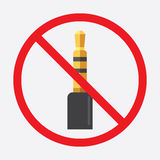Audio jack 3.5mm in ban sign. Icon vector illustration Royalty Free Stock Image