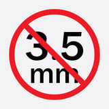 Audio jack 3.5mm in ban sign. Icon vector illustration Stock Photo