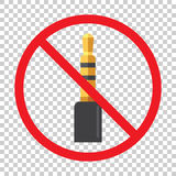 Audio jack 3.5mm in ban sign. Icon vector illustration Stock Images
