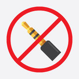 Audio jack 3.5mm in ban sign. Icon vector illustration. Audio jack 3.5mm in ban sign. Icon vector illustration Royalty Free Stock Photos